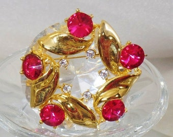 SALE Vintage Gold and Hot Pink Rivoli Rhinestone Brooch.  Large Pink Rivoli Rhinestone Pin.