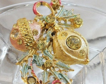 SALE Vintage Christmas Ornament Brooch.  Victorian Revival Pink and Gold Rhinestone Christmas Ornaments Pin