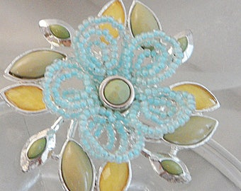 Vintage Blue Yellow Flower Brooch. Beaded Baby Blue and Yellow Flower Pin.
