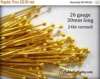 7% off SHOP SALE Bali 24kt Gold Vermeil Ball Headpins, 26 gauge / 30 mm long, Genuine Bali Artisan-made - CHOOSE a Quantity