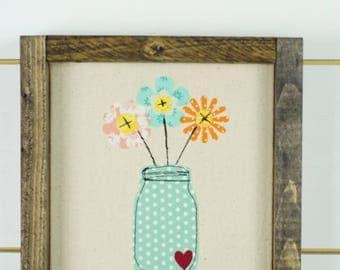 floral wall art, girls room, framed art, wall hanging, wood signs, wood wall art, floral home decor, baby girl nursery, ball jar wood sign