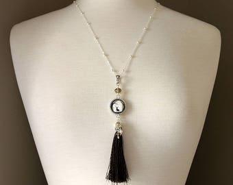 Dark Brown Tassel Necklace. Deer Necklace. Brown Necklace. Woodland Necklace. Brown Tassle Necklace. Boho Necklace. Handmade Necklace.
