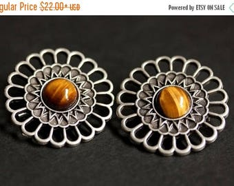 SUMMER SALE Set of Two Viking Brooches. Tigers Eye Shoulder Brooches. Gemstone Apron Pins. Norse Brooches. Handmade Historical Reenactment J