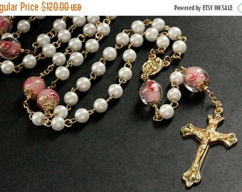 BACK to SCHOOL SALE Lampwork Glass Rosary. Pink Rosary. Pearl Rosary. Gold Rosary. Handmade Rosary. Catholic Rosary. Traditional Rosary. Han