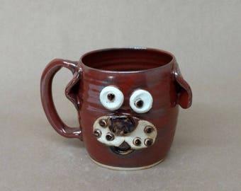 Wheel Thrown Stoneware Pottery Mug in Rustic Red. Hilarious Huge 20 Ounce Dachshund Hot Tea Mug. UgChug Mugs. Food Microwave Dishwasher Safe