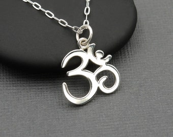 Ohm Necklace - 925 Sterling Silver Buddhist Jewelry, yoga jewelry, om necklace, yoga teacher gift