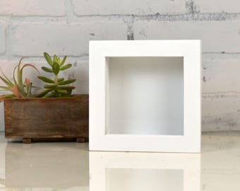 """Small Square Shadow Box Frame Holds up to 4.5 x 4.5 x 1.25"""" deep with Solid White Finish - IN STOCK - Same Day Shipping"""