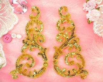 "Sequin Appliques Gold Mirror Pair w/ Beads Dance Costume Motif Patch Sewing or Crafts DIY 6.75"" (0514X-gl)"