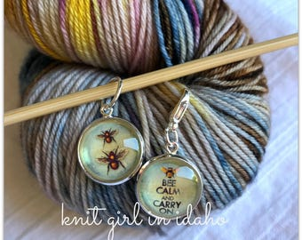 Bee Calm and Carry On Stitch Marker & Progress Keeper (Set of 2)