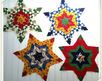 French Provence inspired Farmhouse Quilting Stars set of four vintage handmade with amazing details and French colors