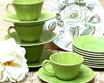 Tea Set by Longchamp in Argent Green made in France c1960s