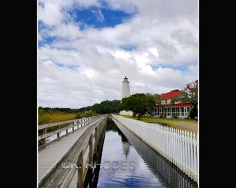 Ocracoke Island Lighthouse Hurricane Maria Reflections Photographic Print matted in black North Carolina
