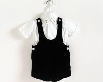 "Vintage 1950s 1960s Boys Size 3-4 Black Velvet Overall Shorts VGC, w24"""