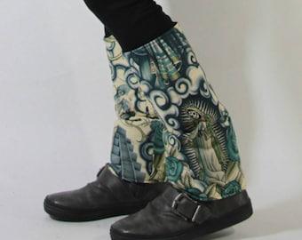 Leggings Black pattern fleece lined slim mexico