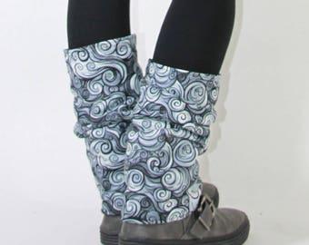 Leggings Black pattern fleece lined slim spirals