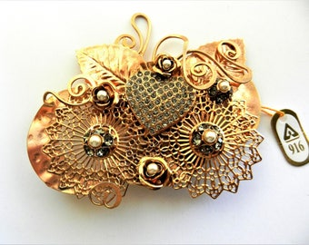 "Extraordinary huge ""art & craft"" diamond black layered design brooch - bright copper finish and open work design - art.856/4"