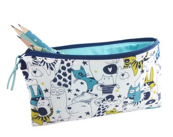 Geeky Pencil Case, Funny Cats Pencil Holder, Bears and Giraffes Zip Pouch, Large Pencil Bag, Animal Lover Gift