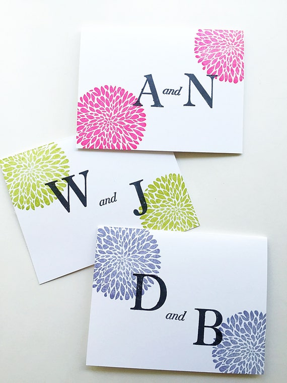 Paper Anniversary Gift. Custom Color Stationery. Anniversary Gift for Wife. Initial Card Set. Bride and Groom Initials.Wife Gift For Husband