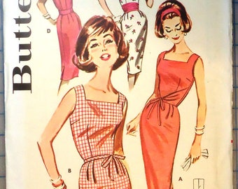 Butterick 9753 - 1960s Vintage Sewing Pattern - Misses Square Neck Fitted Dress