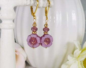 Earrings with Lavender Glass Flower Coins Gifts for Her
