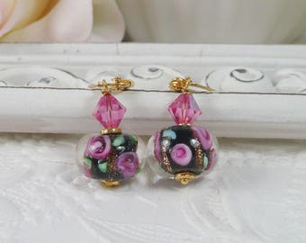 Lamp Work Earrings Pink and Black Floral Gifts for Her