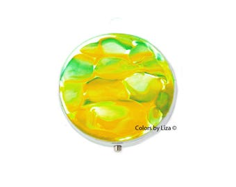 Round Metal Pill Box Hand Painted Enamel in Yellow and Lime Green Quartz Inspired with Personalized and Color Options
