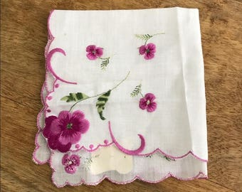 Vintage Something Old Purple Pansy Handkerchief Deadstock with Original Tag