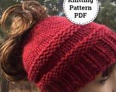 Knit Bun Hat Pattern, Messy Bun Hat Pattern, Knitting Pattern, Messy Bun Hat, Ponytail Hat, Ladies Winter Hat Pattern, Ladies Bun Hat