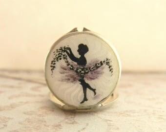 Antique Guilloche Enamel Locket, Dancing Nymph Locket, Art Nouveau Locket, Sterling Silver Locket, Figural Locket, Dancing Lady Locket 1900s