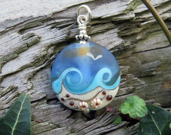 """Pendant """"BEACH-FANTASY III"""" - hand-crafted lampwork bead, sterling silver - one of a kind!"""