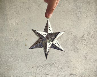Four small vintage Mexican punched tin stars Christmas ornaments patio garden decorations for string lights, rustic home decor, hanging star