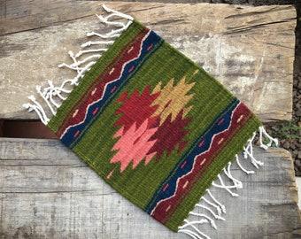 Handwoven Wool Miniature Rug or Small Table Runner Southwestern Decor, Zapotec Runner