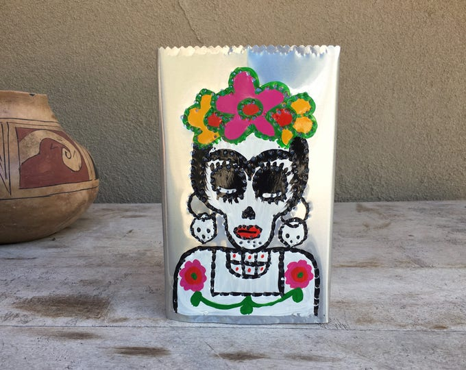 Featured listing image: Vintage hand-painted punched tin luminaria skeleton Day of Dead candleholder Halloween decor