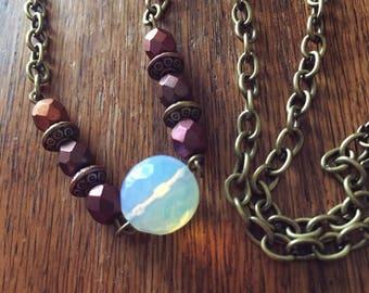 SALE! Sparkling Moon Opalite Pendant Necklace