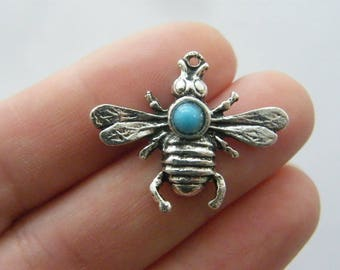 4 Bee charms antique silver tone A649