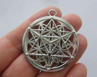 2 Merkaba meditation pendants silver tone  M289