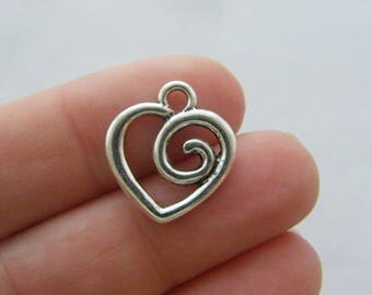 8 Heart charms antique silver tone H163