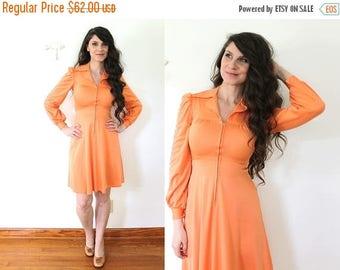 ON SALE 70s Mini Dress / 1970s 1960s Tangerine Orange Coral Mini Dress