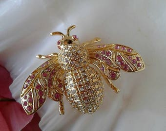 Vintage Large Rhinestone Bee Brooch Pin