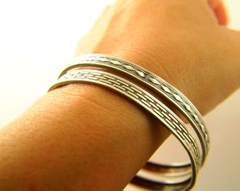Thick Patterned Bangles (2) - Sterling Silver - Vintage