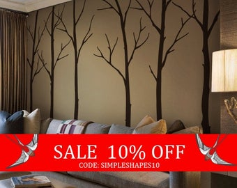 Summer Sale - Tree wall decals - Winter Trees Art Wall Sticker