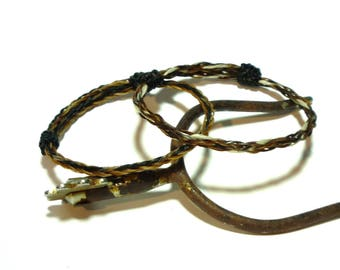Horsehair Adjustable Bracelet - Braided Horsehair Set of 2 Single 1 - Braid Black and Chestnut 1 - Sorrel Black and White