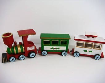 Wooden Train Candle Holder Colonial Train Candle Holder Christmas Train Candle Holder Christmas Express