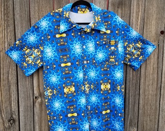 Psychedelic Blue Fractal Spandex Button Up Party Shirt