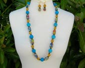 Old Nepali Glass Beads: Colorful Millefiori, Blue Melon, Opaque Yellow & Small Hand-painted Black Beads, Matching Earrings, by SandraDesigns