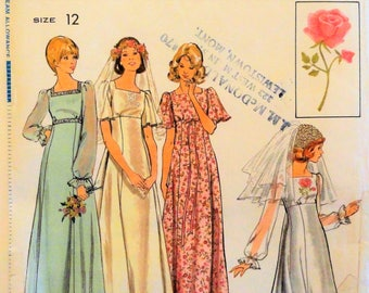 1970's Wedding gown pattern, empire waist, bridesmaid dress, retro vintage sewing pattern + transfer Simplicity 4298 misses size 12 bust 34