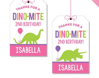 Pink Dinosaur Party - Personalized DIY printable party favor tags