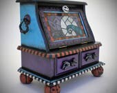One of a Kind Hand Painted Nightmare Before Christmas Inspired Musical Light Up Keepsake Box– Plays Sally's Song