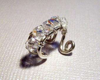 Personalized Wedding Ear Cuff - Sterling Silver with Swarovski Crystals Bridal Ear Cuffs Bridesmaids Jewelry under 25