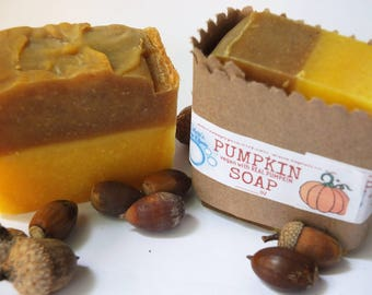 Apple Pumpkin Soap-with REAL Pumpkin-Natural-FREE SHIPPING-Handmade-Cold Process